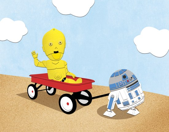 SW Kids - C3PO & R2D2 Red Wagon Art Print