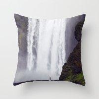 Man Vs. Nature - Skógaf… Throw Pillow