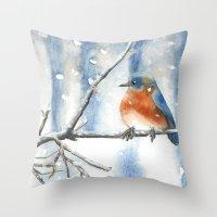 Little bird in the snow Throw Pillow