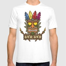Aku-Aku (Crash Bandicoot) Mens Fitted Tee White SMALL