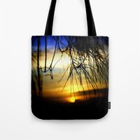 Sunset between pine Needles Tote Bag