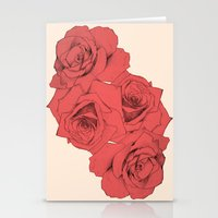 Tattoo Rose   Floral  Stationery Cards