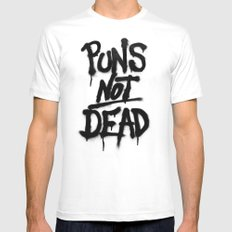 Puns Not Dead SMALL White Mens Fitted Tee