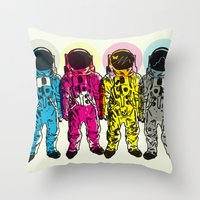 CMYK Spacemen Throw Pillow