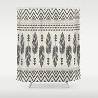 Tribal Feathers-Black & … Shower Curtain