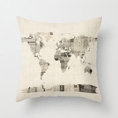 Map of the World Map from Old Postcards Throw Pillow