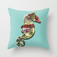 Lucky Seahorse Throw Pillow