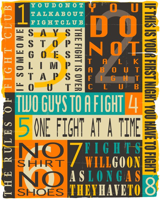 THE 8 RULES OF FIGHT CLUB Art Print