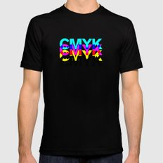 CMYK ON WH Black SMALL Mens Fitted Tee
