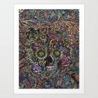 Sensory Overload Skull in Pastels Art Print
