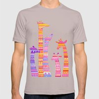 Giraffe Silhouettes in Colorful Tribal Print Mens Fitted Tee Cinder SMALL