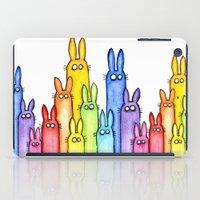 Bunny Rainbow Watercolor Pattern iPad Case