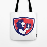 King Lion Holding House Crest Retro Tote Bag