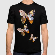 Vintage Butterfly Collage Black SMALL Mens Fitted Tee
