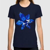 Blue Flowers Womens Fitted Tee Navy SMALL