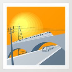 Train Bus Viaduct Retro Art Print