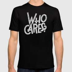 WHO CARES? Black SMALL Mens Fitted Tee