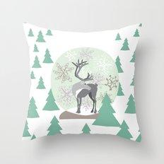 Reindeer Snowglobe Throw Pillow