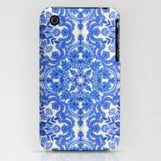 Cobalt Blue & China White Folk Art Pattern iPhone (3g, 3gs) Slim Case