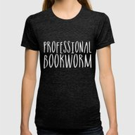 Professional Bookworm - … Womens Fitted Tee Tri-Black SMALL
