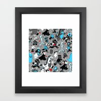Monster March (Gray) Framed Art Print