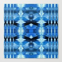 Watercolor Ikat Blue Borders Canvas Print