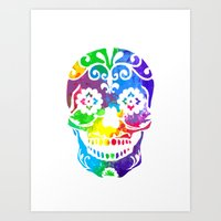 sugar skull Art Prints featuring Sugar Skull by Diana Arend