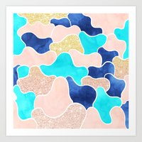 Color block faux gold turquoise pink watercolor Art Print