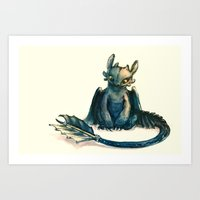 dragon Art Prints featuring Toothless by Alice X. Zhang