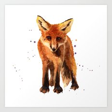 Watercolor FOX, FOX painting, animal art, watercolor animals, woodland nursery Art Print