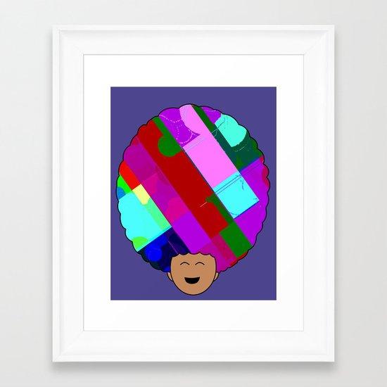 glitch afro Framed Art Print