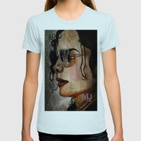 MJ In Profile Womens Fitted Tee Light Blue SMALL