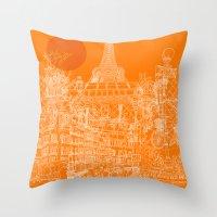 Paris! Orange Sun Throw Pillow