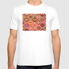 greek carpet pattern SMALL White Mens Fitted Tee