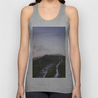 Mountain path and fence at sunset. Derbyshire, UK. Unisex Tank Top