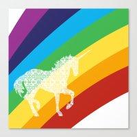 Unicorn On Rainbow Art Canvas Print