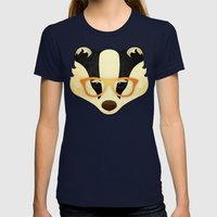 Hipster Badger: Gold Womens Fitted Tee Navy SMALL