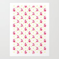 Dots And Cherries Art Print