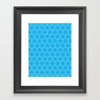 Icosahedron Pattern Bright Blue Framed Art Print