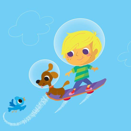 hover boarding future boy Art Print