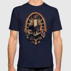 He Abides Mens Fitted Tee Navy SMALL