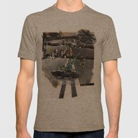 Strange Angels | Collage Mens Fitted Tee Tri-Coffee SMALL