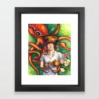 Tea With Kraken Framed Art Print