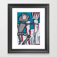 Manhattan vs. Depressed Giant Robot Framed Art Print