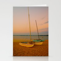 Two Boats At Sunset Stationery Cards