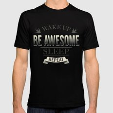 Be Awesome. Repeat. (Yellow) Black Mens Fitted Tee SMALL