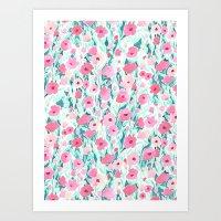 Flower Field Pink Mint Art Print