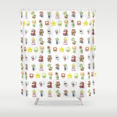 Mario Characters Watercolor  Shower Curtain