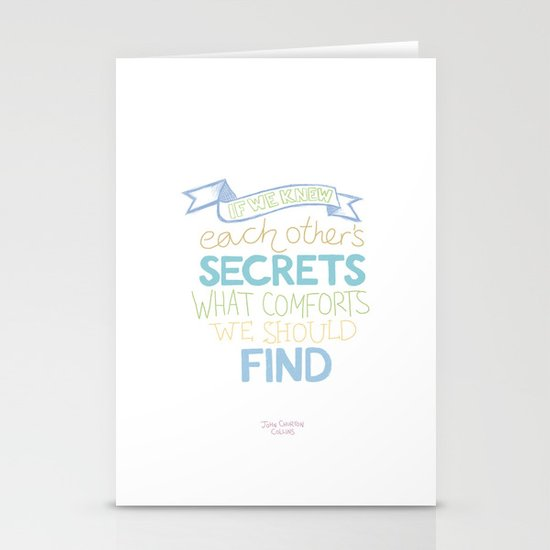 Each other's secrets Stationery Card