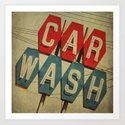 Retro Car Wash Sign Art Print